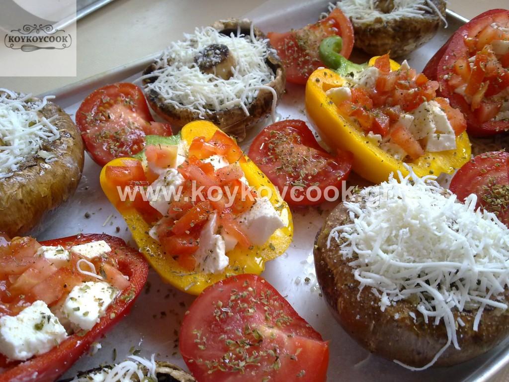 Μιξ γκριλ λαχανικών με μυρωδικά και τυριά